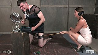 Stunning mistress London River is spanking one kinky cross dresser