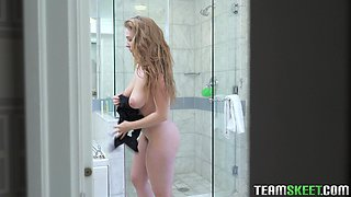 Busty chick Lena Paul enjoys rubbing her pussy while she showers