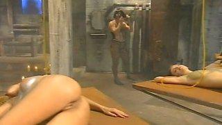 Perv crossdresser sucks tits and pussies of his salve girls