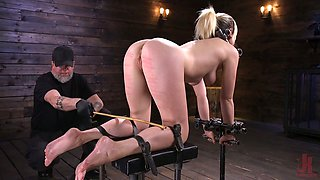 Tied up blond actress Lily LaBeau is spanked and fucked with vibrator