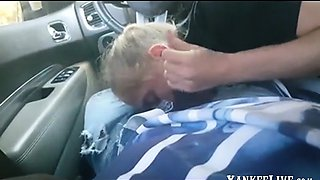 HOMEMADE AMATEUR BLOND SLUT SUCKING BBC IN CAR