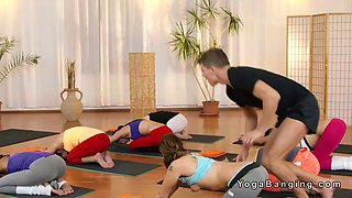 Yoga coach bangs two hot babes