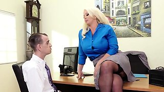 This Horny Office Blonde Babe