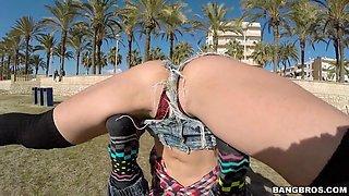 julia roca showing off her stretching skills outdoor