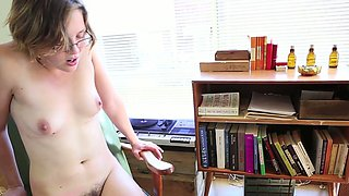 Zealous nerdy slender pale chick was just sitting flashing her hairy cunt