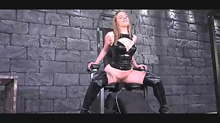 mistress has her slave under a special chair ii