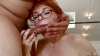 Red haired bitch wity nice ass Penny Pax sucks the dick