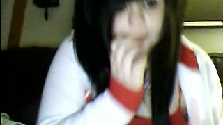 Cute webcam emo chick flashes and fingers her twat for me