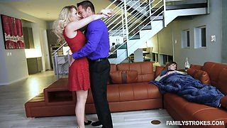 Alluring blonde Zoey Monroe fucks one dude in the presence of his sleeping GF