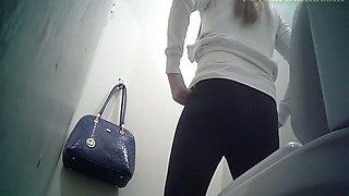 Cute white blonde teen in black panties filmed in the toilet