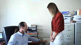 Boss licks and fucks teen secretarys ass