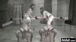 Tied up girl gets her cunt punished
