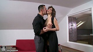 Oversexed brunette girl in romantic black dress is seduced for sex