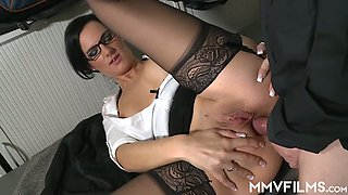Nerdy dirty boss Sina Velvet gets brutally fucked doggy style