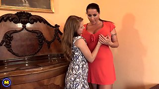 Taboo sex with busty mom and petite daughter