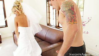 Horny bride Tasha Reign gives deepthroat blowjob at her wedding day