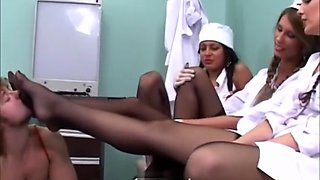 3 nurse latex glove handjob