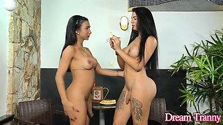 Busty n Hung Trannies Yasmin Dornelles and Estela Duarte Play with Bananas