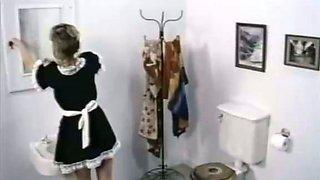 Horny boss attacks his slutty fair haired housemaid in bath