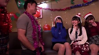Sweet Asian girls join a group of boys for a hot sex party