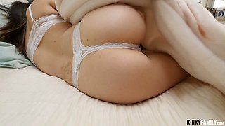 Dude fucks pretty hot stepsister in white thongs Marina Woods