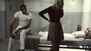 Nude blonde gal allows a black man to touch her pussy indoors