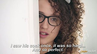Curly Spanish chick Alma del Rey asks her step daddy to fuck her hard
