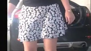 Wife trying on a new skirt in the carpark flashing her ass and pussy