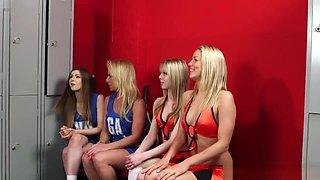 CFNM cheerleaders cocksucking until facial