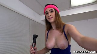sporty amateur gets cum on her nice tits after a hardcore dick ride