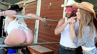 Slut crazy teens ride a cowboys big cock in a foursome