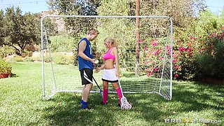 Horny Kayla Sucking Dick On The Soccer Field