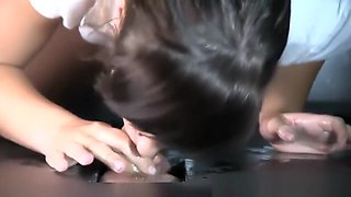 Lena sucking hard cock and swallowing their cum POV