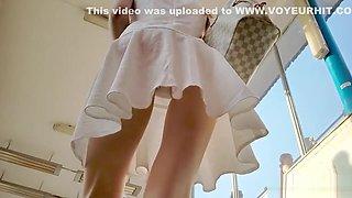 Cute Blonde In White Dress