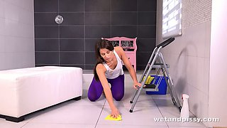 This horny housewife knows how to clean the house and she is a piss enthusiast
