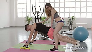Fitness babe Stacy Snake gets her muff rammed by horny coach