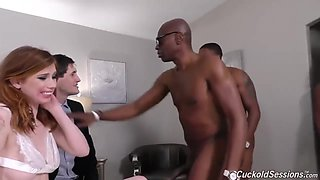 Red haired darling had an interracial, mmmf foursome with black guys in front of her partner