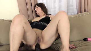 Mature woman gets fucked by a big black cock swallows