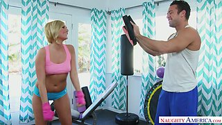 Sport blonde Kate England takes heavy penis in her juicy pussy after anal rimming scene