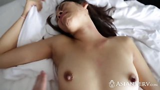 Perfect Asian girlfriend rides big dick until total exhaustion