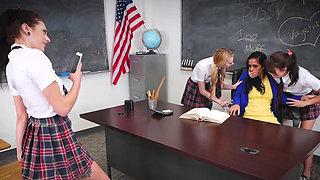 Angry tighty schoolgirl teens punished a bad MILF teacher