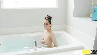 Kyra Rose Playing With Boy Toy in Bathtub