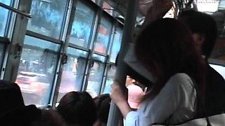 Random man enjoys teen flashing milk cans and pussy to him