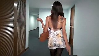 Hot Thai Whore Fucking with Pantyhose in Hotel Room