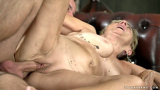 Young student fucks and licks pussy of nasty old nanny Malya