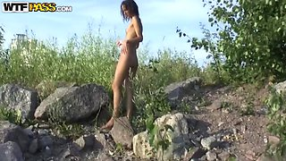 Skinny babe Dasi West likes to be naked outdoor
