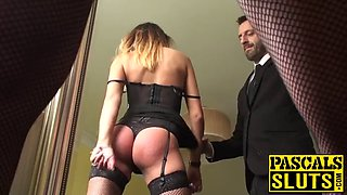 Gorgeous sub with glasses spanked before rough anal sex