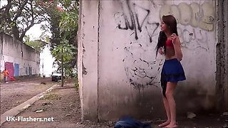 South American Polly public striptease and teen