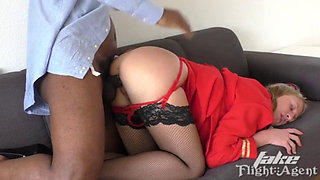 Sexy flight attendant fucked by a BBC