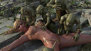 3D Monsters Gangbang Hot Babes!